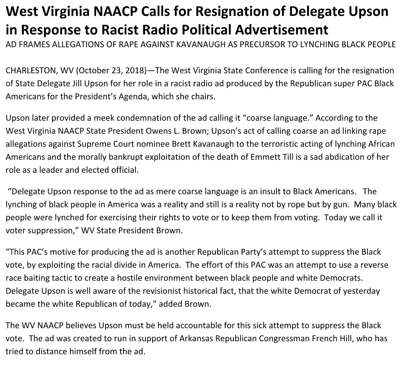 West Virginia NAACP Calls for Resignation of Delegate Upson in Response to Racist Radio Political Advertisement